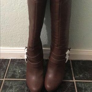 Womens brown high heel boots